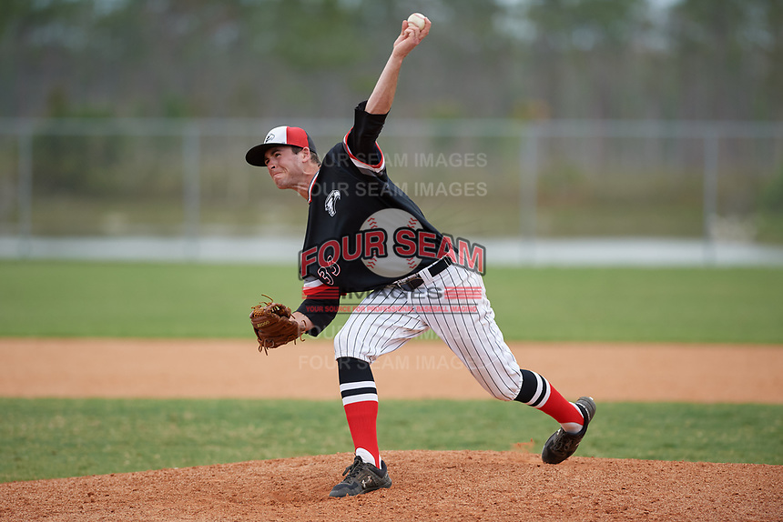 Edgewood Eagles relief pitcher Mason Maziarka (33) during a game against the Babson Beavers on March 18, 2019 at Lee County Player Development Complex in Fort Myers, Florida.  Babson defeated Edgewood 23-7.  (Mike Janes/Four Seam Images)