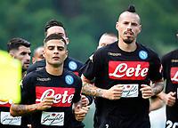 Rafael Cabral  7\Lorenzo Insigne Marek Hamsik Lorenzo Insigne  durante il  ritiro precampionato del SSC Napoli a Dimaro<br />  05 Luglio  2017