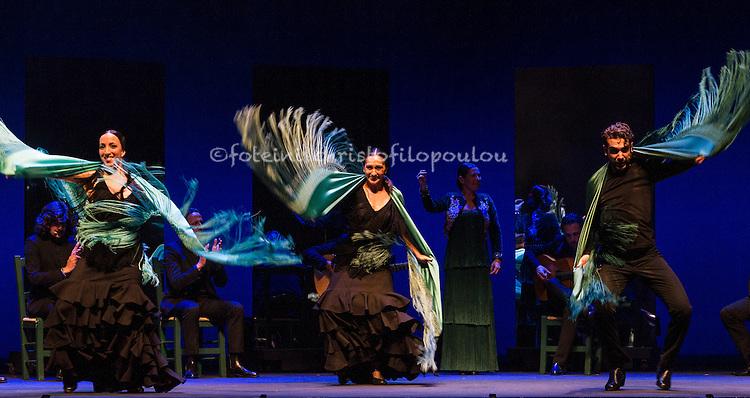 London, UK. 16.02.2016. Ballet Flamenco Sara Baras presents Voces, Suite Flamenca at Sadler's Wells as part of the Flamenco Festival London 2016. Photo shows: Corps de ballet ( Maria Jesus, Garcia Oviedo, Charo Pedraja, Cristina Aldon, Daniel Saltares, David Martin, Alejandro Rodriguez) in Solea pro buleria. Photo - © Foteini Christofilopoulou.