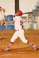 Teran Kleininger #53 of the Johnson City Cardinals follows through on his swing against the Elizabethton Twins at Howard Johnson Field July 3, 2010, in Johnson City, Tennessee.  Photo by Brian Westerholt / Four Seam Images