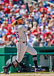 14 April 2018: Colorado Rockies starting pitcher Jon Gray at bat against the Washington Nationals at Nationals Park in Washington, DC. The Nationals rallied to defeat the Rockies 6-2 in the 3rd game of their 4-game series. Mandatory Credit: Ed Wolfstein Photo *** RAW (NEF) Image File Available ***