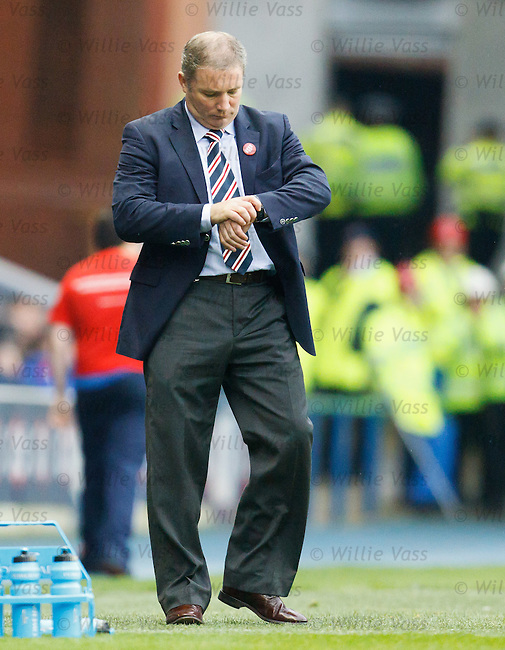Ally McCoist checks his watch as the match goes into added on time - then St Mirren score