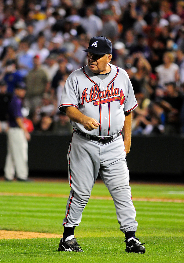 July 9, 2009: Braves manager and 2009 National League Manager of the Year candidate Bobby Cox returns from a visit to the mound during a regular season game between the Atlanta Braves and the Colorado Rockies at Coors Field in Denver, Colorado.