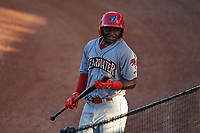 Clearwater Threshers left fielder Cornelius Randolph (2) on deck during a game against the Bradenton Marauders on July 24, 2017 at LECOM Park in Bradenton, Florida.  Bradenton defeated Clearwater 6-3  (Mike Janes/Four Seam Images)
