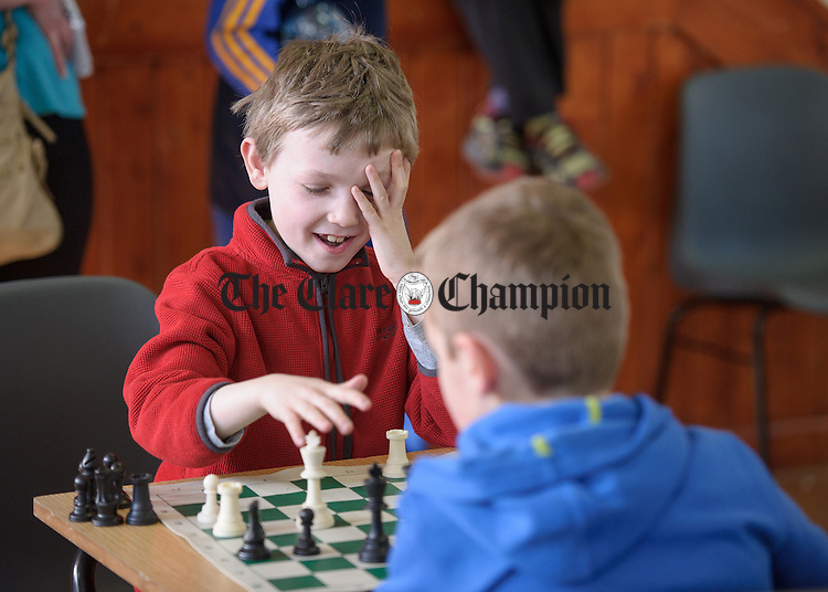 James Jones of Clarecastle/Ballyea competing at the Clare Community games chess county finals in St Flannan's college, Ennis. Photograph by John Kelly.