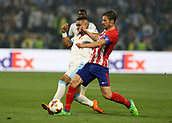 16th May 2018, Stade de Lyon, Lyon, France; Europa League football final, Marseille versus Atletico Madrid; Gabi of Atletico Madrid challenges Dimitri Payet of Marseille
