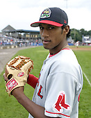 August 8, 2004:  Pitcher Harvey Garcia of the Lowell Spinners, Single-A NY-Penn League affiliate of the Boston Red Sox, during a game at Dwyer Stadium in Batavia, NY.  Photo by:  Mike Janes/Four Seam Images