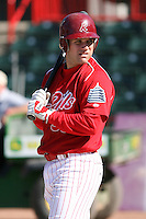 May 29th 2008:  Neil Sellers of the Reading Phillies, Class-AA affiliate of the Philadelphia Phillies, during a game at Jerry Uht Park in Erie, PA.  Photo by:  Mike Janes/Four Seam Images
