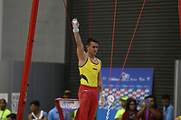 BARRANQUILLA - COLOMBIA, 20-07-2018: Jossimar Calvo, Colombia, durante su participación en Gimnasia categoría anillos hombres como parte de los Juegos Centroamericanos y del Caribe Barranquilla 2018. /  Jossimar Calvo, Colombia, during his participation in gymnastics men's rings category of the Central American and Caribbean Sports Games Barranquilla 2018. Photo: VizzorImage /  Cont