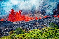 Fissure 18 eruptions and lava flows, Pahoa, Puna, Big Island, Hawaii, USA