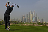 Bernd Wiesberger (AUT) on the 8th tee during Round 1 of the Omega Dubai Desert Classic, Emirates Golf Club, Dubai,  United Arab Emirates. 24/01/2019<br /> Picture: Golffile | Thos Caffrey<br /> <br /> <br /> All photo usage must carry mandatory copyright credit (&copy; Golffile | Thos Caffrey)