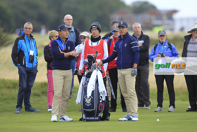 John Pak (USA) and Isaiah Salinda (USA) on the 3rd during the Foursomes at the Walker Cup, Royal Liverpool Golf CLub, Hoylake, Cheshire, England. 07/09/2019.<br /> Picture Thos Caffrey / Golffile.ie<br /> <br /> All photo usage must carry mandatory copyright credit (© Golffile | Thos Caffrey)