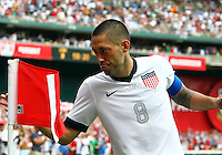 WASHINGTON, DC - June 02 2013: USA MNT v Germany MNT in the US Soccer Centennial match at RFK Stadium, in Washington DC. Clint Dempsey after his second goal. USA won 4-3.