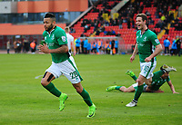 Lincoln City's Nathan Arnold celebrates scoring his sides second goal <br /> <br /> Photographer Andrew Vaughan/CameraSport<br /> <br /> Vanarama National League - Gateshead v Lincoln City - Monday 17th April 2017 - Gateshead International Stadium - Gateshead <br /> <br /> World Copyright &copy; 2017 CameraSport. All rights reserved. 43 Linden Ave. Countesthorpe. Leicester. England. LE8 5PG - Tel: +44 (0) 116 277 4147 - admin@camerasport.com - www.camerasport.com