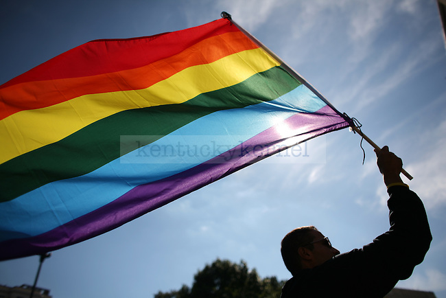 A protester waves a gay pride flag during the National Equality March to fight for equal rights for the LGBT community in Washington, D.C. on Sunday, Oct. 11, 2009. Photo by Adam Wolffbrandt | Staff