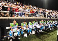 Oct. 8, 2009; Las Vegas, NV, USA; California Redwoods players sit in the bench against the Las Vegas Locomotives during the inaugural United Football League game at Sam Boyd Stadium. Las Vegas defeated California 30-17. Mandatory Credit: Mark J. Rebilas-