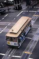 San Francisco, CA; Birdseye View Of Passengers Hanging Onto Cable Car At Powell And California St.