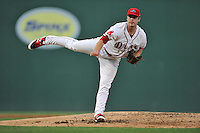 Pitcher Ben Taylor (32) of the Greenville Drive delivers a pitch in a game against the Greensboro Grasshoppers on Tuesday, August 25, 2015, at Fluor Field at the West End in Greenville, South Carolina. Taylor was selected by the Boston Red Sox in the 7th round of the 2015 First-Year Player Draft out of the University of South Alabama. Greensboro won, 3-2. (Tom Priddy/Four Seam Images)
