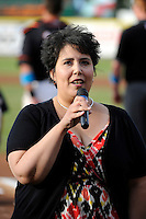 Jacqueline Luebbert performs the national anthem before an Erie Seawolves game against the Binghamton Mets at Jerry Uht Park on June 23, 2012 in Erie, Pennsylvania.  Erie defeated Binghamton 5-3.  (Mike Janes/Four Seam Images)