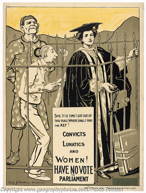 """""""Women! Have no vote for Parliament"""" Ca 1890-1918, Artist: Emily J. Harding Andrews, published by Artists Suffrage League"""