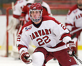 David Valek (Harvard - 22) - The Harvard University Crimson defeated the St. Lawrence University Saints 4-3 on senior night Saturday, February 26, 2011, at Bright Hockey Center in Cambridge, Massachusetts.