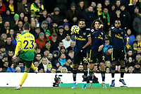 1st December 2019; Carrow Road, Norwich, Norfolk, England, English Premier League Football, Norwich versus Arsenal; Pierre-Emerick Aubameyang, Matteo Guendouzi and Alexandre Lacazette of Arsenal form a wall to block the free kick shot from Kenny McLean of Norwich City - Strictly Editorial Use Only. No use with unauthorized audio, video, data, fixture lists, club/league logos or 'live' services. Online in-match use limited to 120 images, no video emulation. No use in betting, games or single club/league/player publications