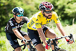 Race leader yellow jersey Thomas De Gendt (BEL) Lotto-Soudal during Stage 2 of the Criterium du Dauphine 2017, running 171km from Saint-Chamond to Arlanc, France. 5th June 2017. <br /> Picture: ASO/A.Broadway | Cyclefile<br /> <br /> <br /> All photos usage must carry mandatory copyright credit (&copy; Cyclefile | ASO/A.Broadway)