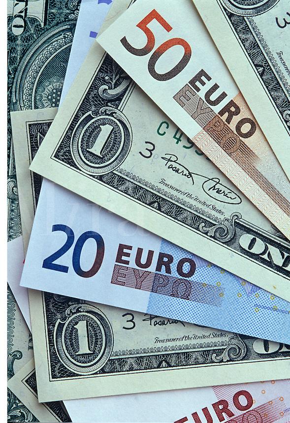 Euro and dollar bills.