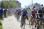 The peloton including Matteo Trentin (ITA) Quick-Step Floors on pave sector 29  Troisvilles a Inchy during the 115th edition of the Paris-Roubaix 2017 race running 257km Compiegne to Roubaix, France. 9th April 2017.<br /> Picture: Eoin Clarke | Cyclefile<br /> <br /> <br /> All photos usage must carry mandatory copyright credit (&copy; Cyclefile | Eoin Clarke)