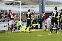 Rod McDonald of Northampton Town (third right) scores his team's third goal against Morecambe to make it 3-0 during the Sky Bet League 2 match between Northampton Town and Morecambe at Sixfields Stadium, Northampton, England on 23 January 2016. Photo by David Horn / PRiME Media Images.