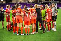 Orlando, FL - Wednesday June 27, 2018:  Houston Dash celebrate a win, Orlando Pride vs Houston Dash at Orlando City Stadium.