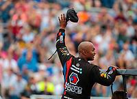 Aug 19, 2018; Brainerd, MN, USA; NHRA top fuel driver Antron Brown during the Lucas Oil Nationals at Brainerd International Raceway. Mandatory Credit: Mark J. Rebilas-USA TODAY Sports