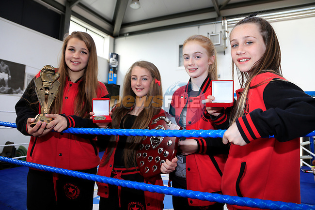 Gabriella simkute, chloe kennedy ellen byrne and Aoife Collins Drogheda Boxing Club members with there Medals and trophys<br /> Picture:  www.newsfile.ie