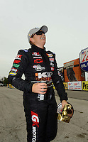 Sept. 30, 2012; Madison, IL, USA: NHRA pro stock driver Erica Enders celebrates after winning the Midwest Nationals at Gateway Motorsports Park. Mandatory Credit: Mark J. Rebilas-