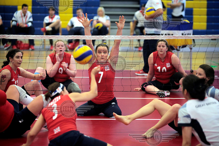 Martine Wright (centre) in training with Team GB's Paralympic Women's sitting Volleyball squad at The University of Bath.