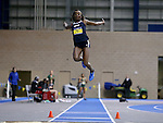 BROOKINGS, SD - FEBRUARY 24:  Mercy Abire from Oral Roberts leaps during the finals of the women's long jump Friday afternoon at the Summit League Indoor Championships in Brookings, SD. (Photo by Dave Eggen/Inertia)