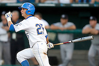UCLA CF Beau Amaral swings in Game One of the NCAA Division One Men's College World Series Finals on June 28th, 2010 at Johnny Rosenblatt Stadium in Omaha, Nebraska.  (Photo by Andrew Woolley / Four Seam Images)