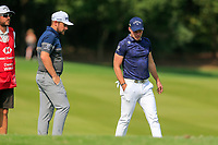 Tyrrell Hatton (ENG) and Danny Willett (ENG) on the 2nd fairway during the 3rd round of the WGC HSBC Champions, Sheshan Golf Club, Shanghai, China. 02/11/2019.<br /> Picture Fran Caffrey / Golffile.ie<br /> <br /> All photo usage must carry mandatory copyright credit (© Golffile | Fran Caffrey)