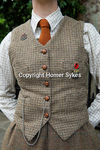 The Chap Olympiad Bedford Square London UK. Woman wearing tweeds.