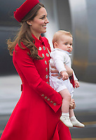 Prince George, Kate, Duchess of Cambridge & Prince William arrive in New Zealand