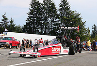Aug. 2, 2014; Kent, WA, USA; NHRA top fuel dragster driver Steve Torrence during qualifying for the Northwest Nationals at Pacific Raceways. Mandatory Credit: Mark J. Rebilas-