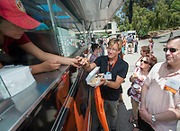 Food trucks. Occidental College alums enjoy a long weekend of activities and festivities both on campus and off during Alumni Reunion Weekend, June 21, 2013.<br />