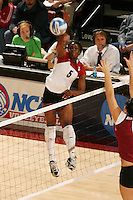 3 December 2005: Njideka Nnamani during Stanford's 3-1 loss to Santa Clara University at Maples Pavilion in Stanford, CA.