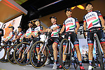 UAE Team Emirates on stage at the Team Presentation in Burgplatz Dusseldorf before the 104th edition of the Tour de France 2017, Dusseldorf, Germany. 29th June 2017.<br /> Picture: Eoin Clarke | Cyclefile<br /> <br /> <br /> All photos usage must carry mandatory copyright credit (&copy; Cyclefile | Eoin Clarke)