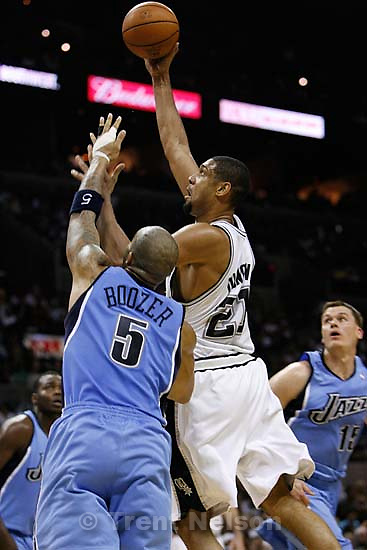 San Antonio Spurs forward Tim Duncan  (21) Utah Jazz forward Carlos Boozer (5) San Antonio - Utah Jazz vs. San Antonio Spurs, Western Conference Finals game five at the AT&T Center..5.30.2007