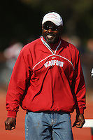 4 May 2008: Stanford Cardinal director of Track & Field Edrick Floreal during Stanford's Payton Jordan Cardinal Invitational at Cobb Track & Angell Field in Stanford, CA.