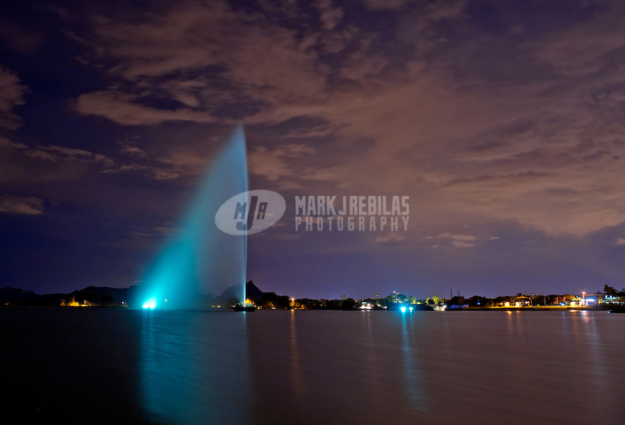 Fountain Hills water lake Arizona night long exposure city lights sky clouds