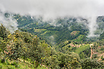 Clouds shroud the mountaintops in the Sierra Madre del Sur Mountains of Oaxaca, Mexico.