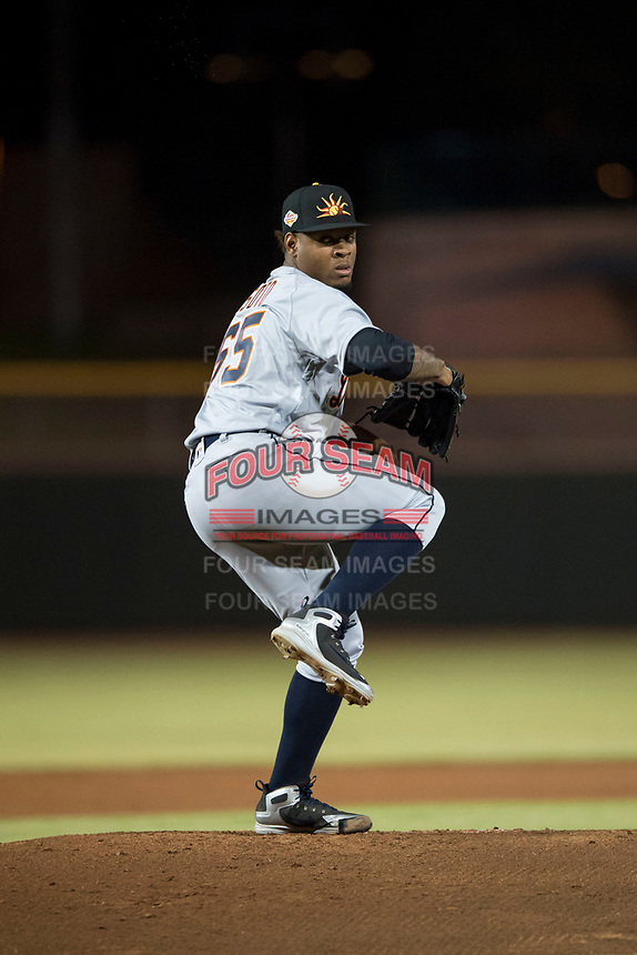 Mesa Solar Sox starting pitcher Gregory Soto (65), of the Detroit Tigers organization, delivers a pitch during an Arizona Fall League game against the Scottsdale Scorpions on October 9, 2018 at Scottsdale Stadium in Scottsdale, Arizona. The Solar Sox defeated the Scorpions 4-3. (Zachary Lucy/Four Seam Images)