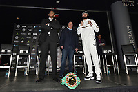 BROOKLYN, NY - DECEMBER 20: (L-R) Dominic Breazeale and Carlos Negron pose together on stage during the Fox Sports and Premier Boxing Champions press conference for the December 22 Fox PBC Fight Night at the Barclay Center on December 20, 2018 in Brooklyn, New York. (Photo by Anthony Behar/Fox Sports/PictureGroup)